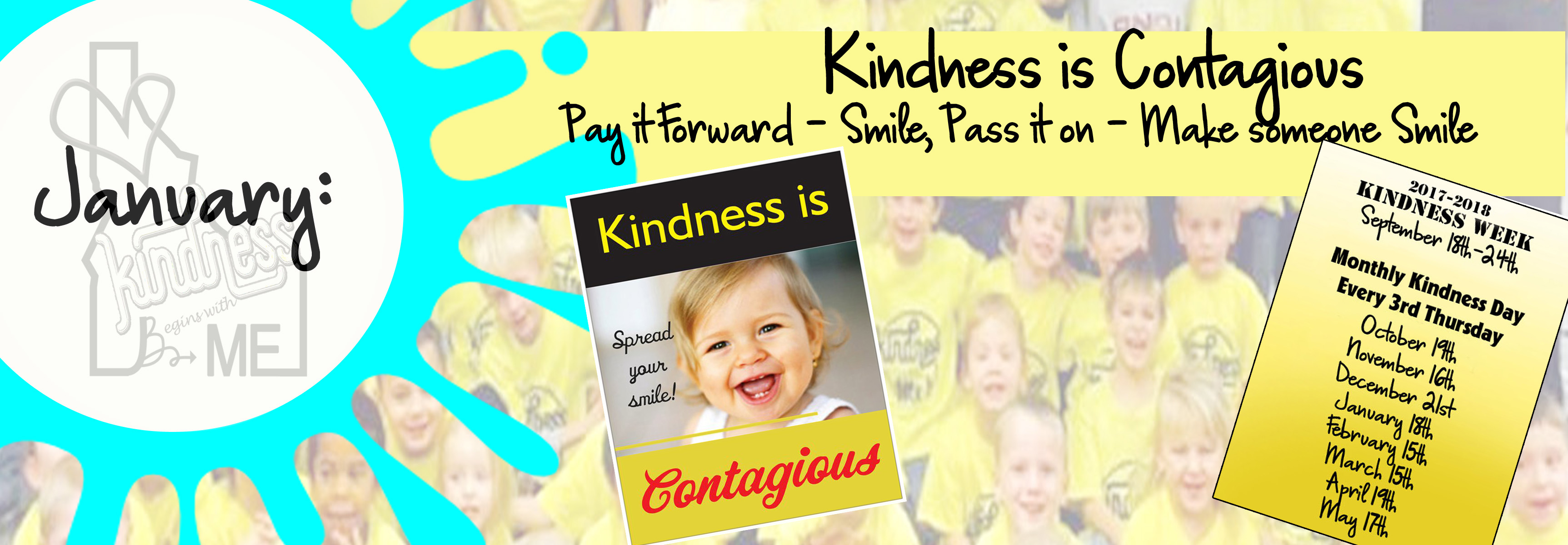 Tomorrow is January's Kindness Day  – Thursday, January 18th, 2018 – Kindness is Contagious